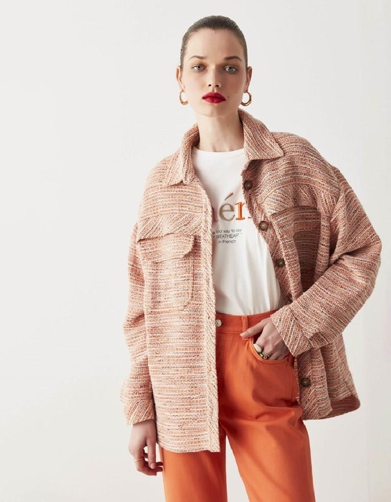 Orange Tweed Shirt Jacket