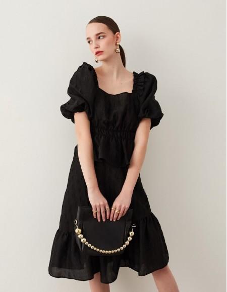 Black Balloon Sleeve Blouse