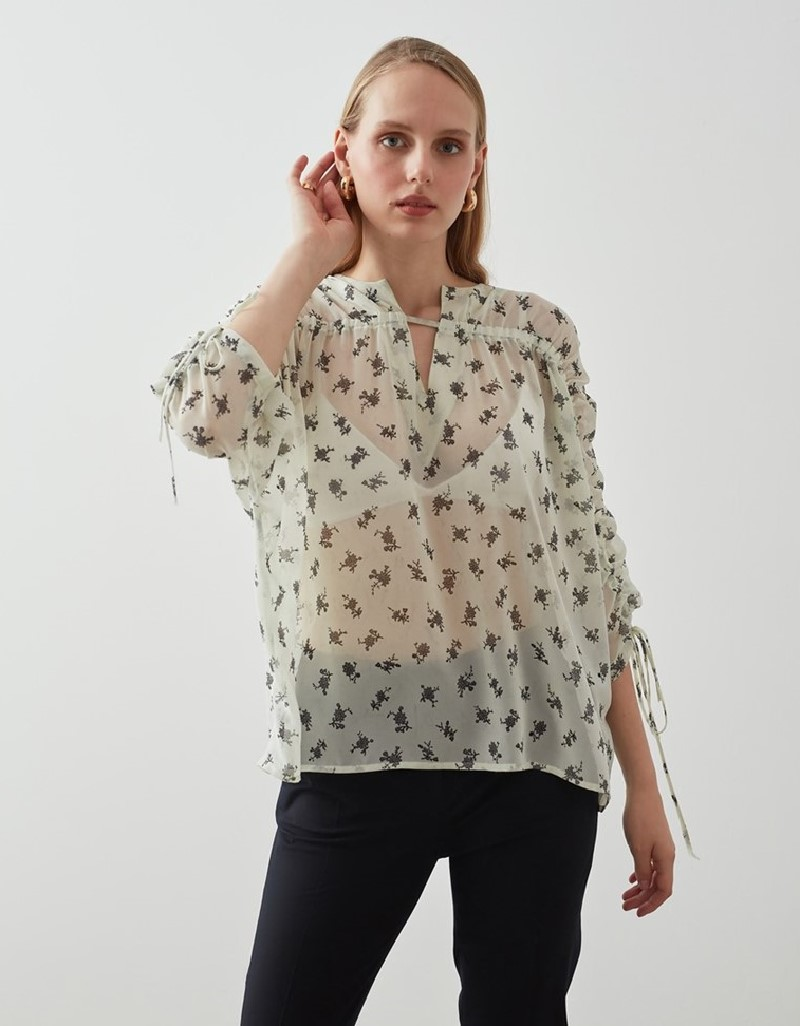 White Gathered Collar And Sleeve Detailed Blouse