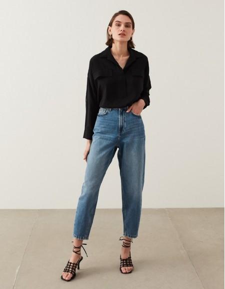 Black Shirt Collar Blouse