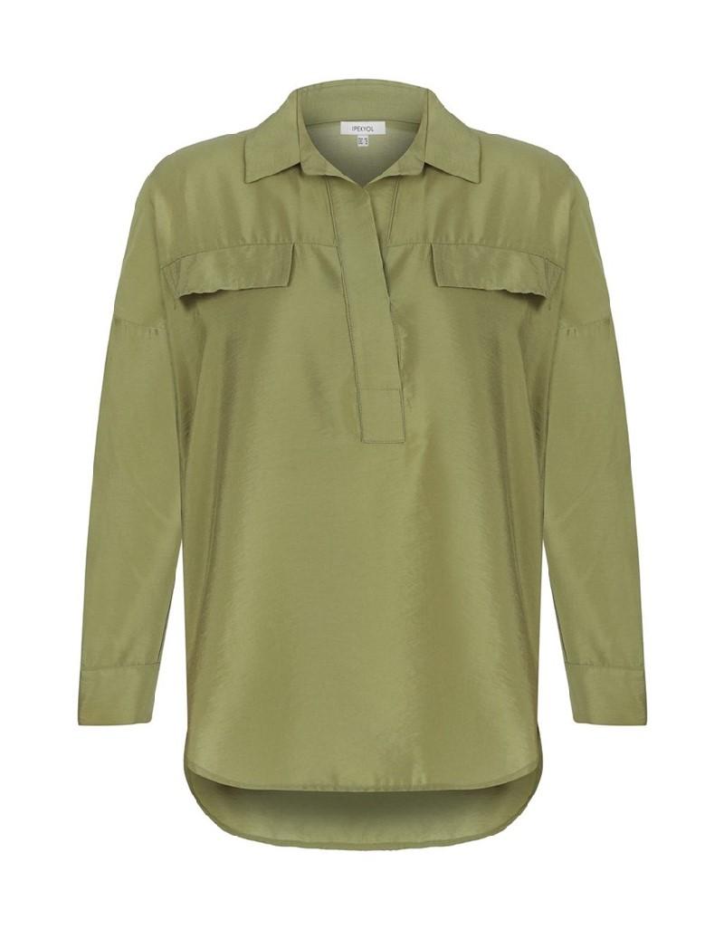 Khaki Shirt Collar Blouse