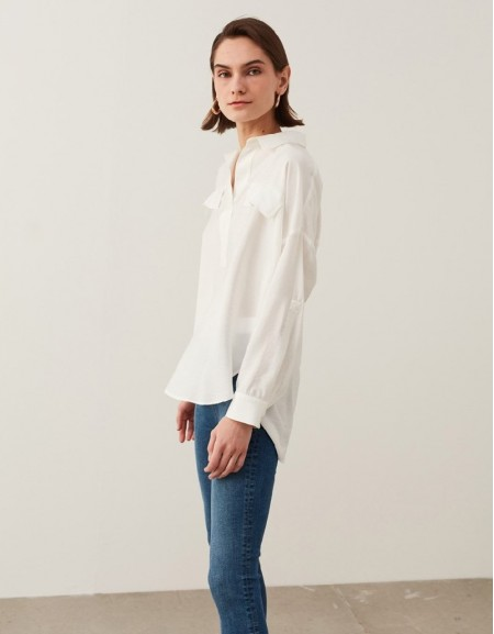 Off White Shirt Collar Blouse