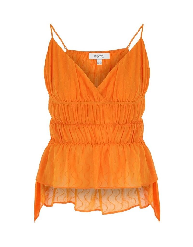 Orange Gathered Blouse