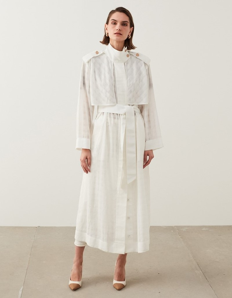 Off White Transparent Trench Coat