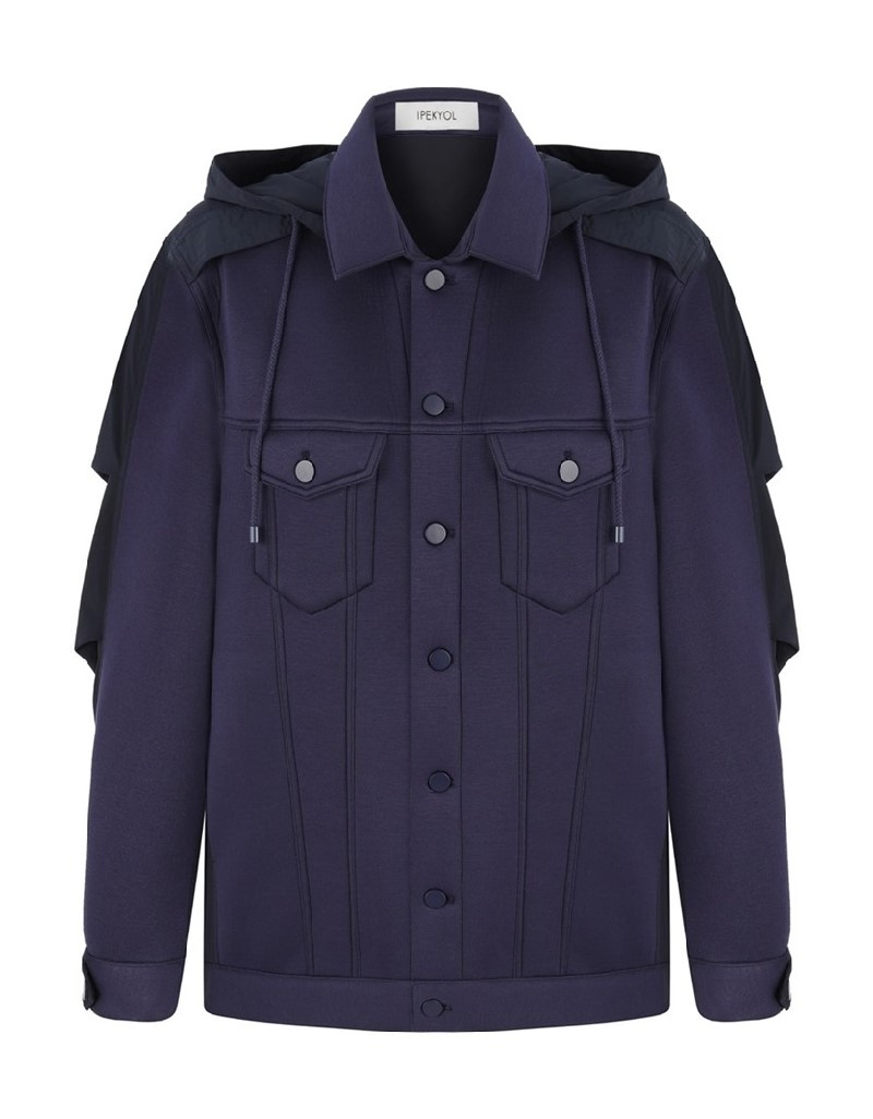 Navy Scuba Jacket With Fabric Mix