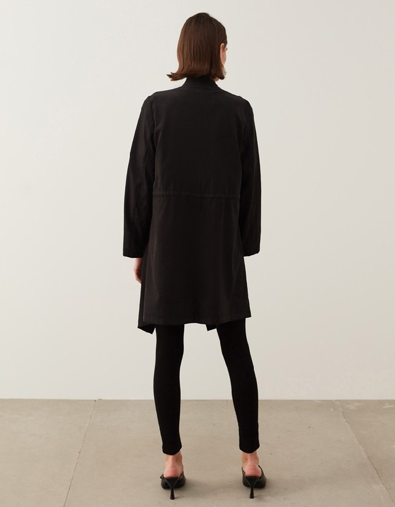 Black Slim Coat With Shawl Collar