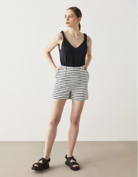 Navy Striped Mini Shorts