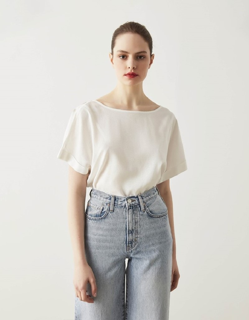 Off White Linen Tunic With Back Detail