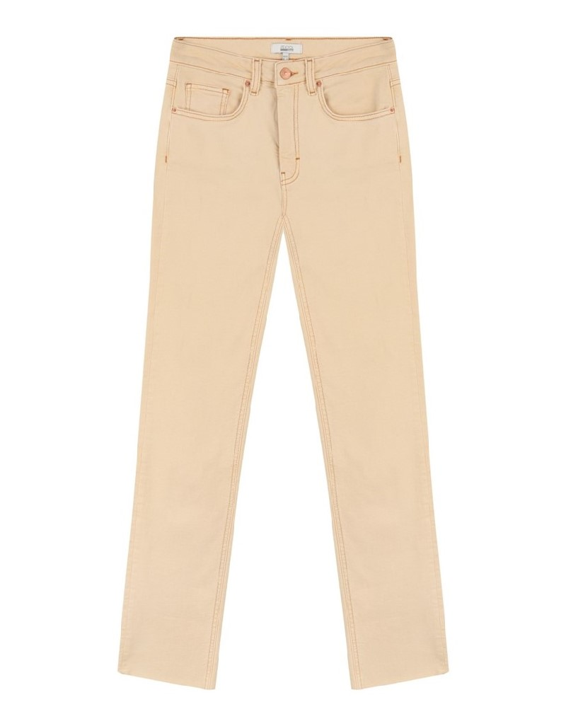 Salmon Cropped Straight Fit Jeans