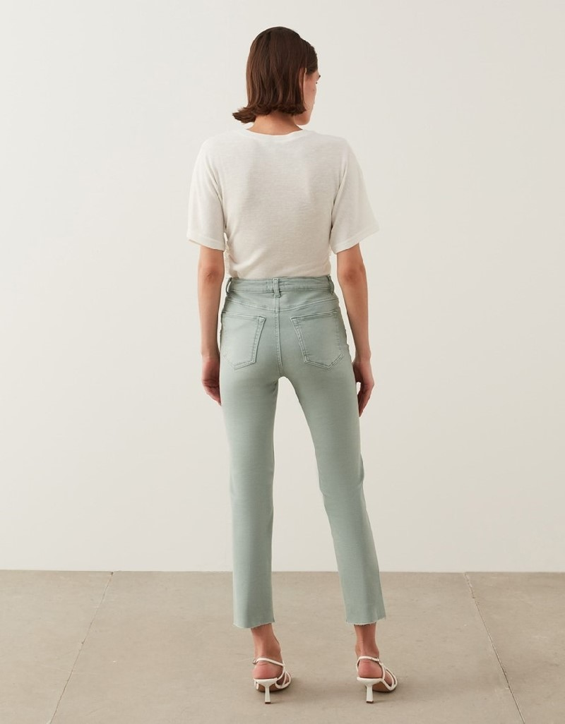 Sea Green Cropped Straight Fit Jeans