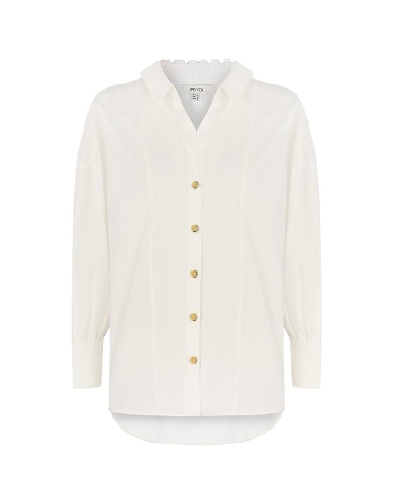 Off White Asymmetrical Collar Shirt