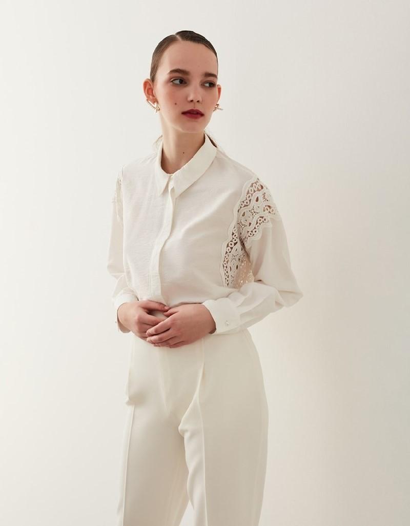 Off White Guipure Detail Shirt