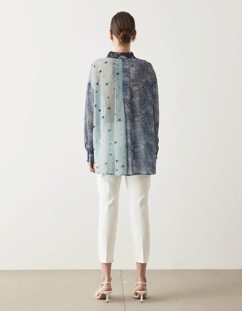 Sea Green Pattern Mix Shirt