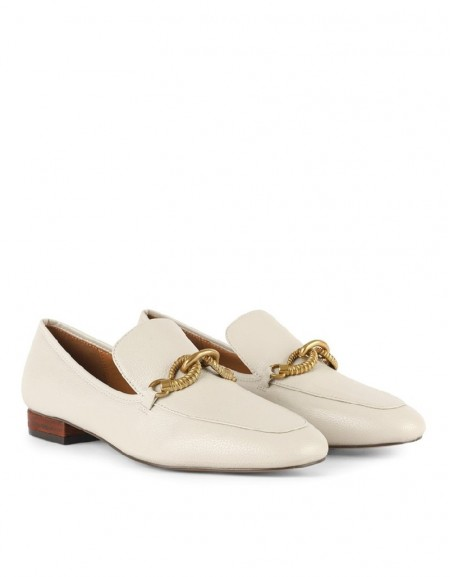 White Metal Buckle Flat Shoes