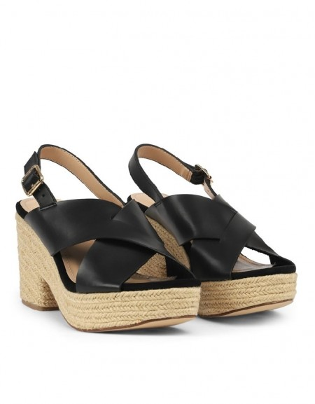 Black Cross-Strap Heeled Sandals