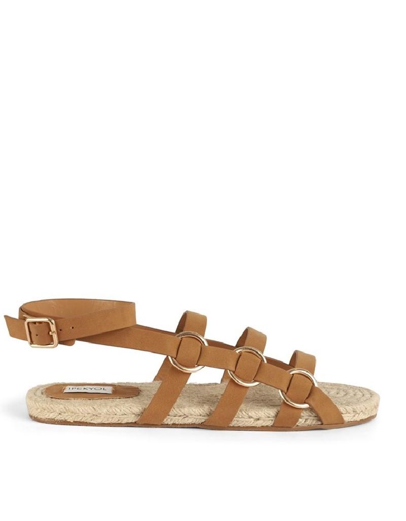Brown Striped Straw Sandals