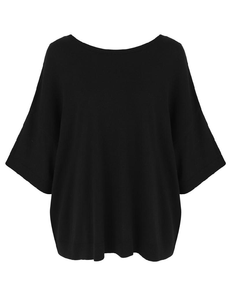 Black Low-Cut Back Knitwear