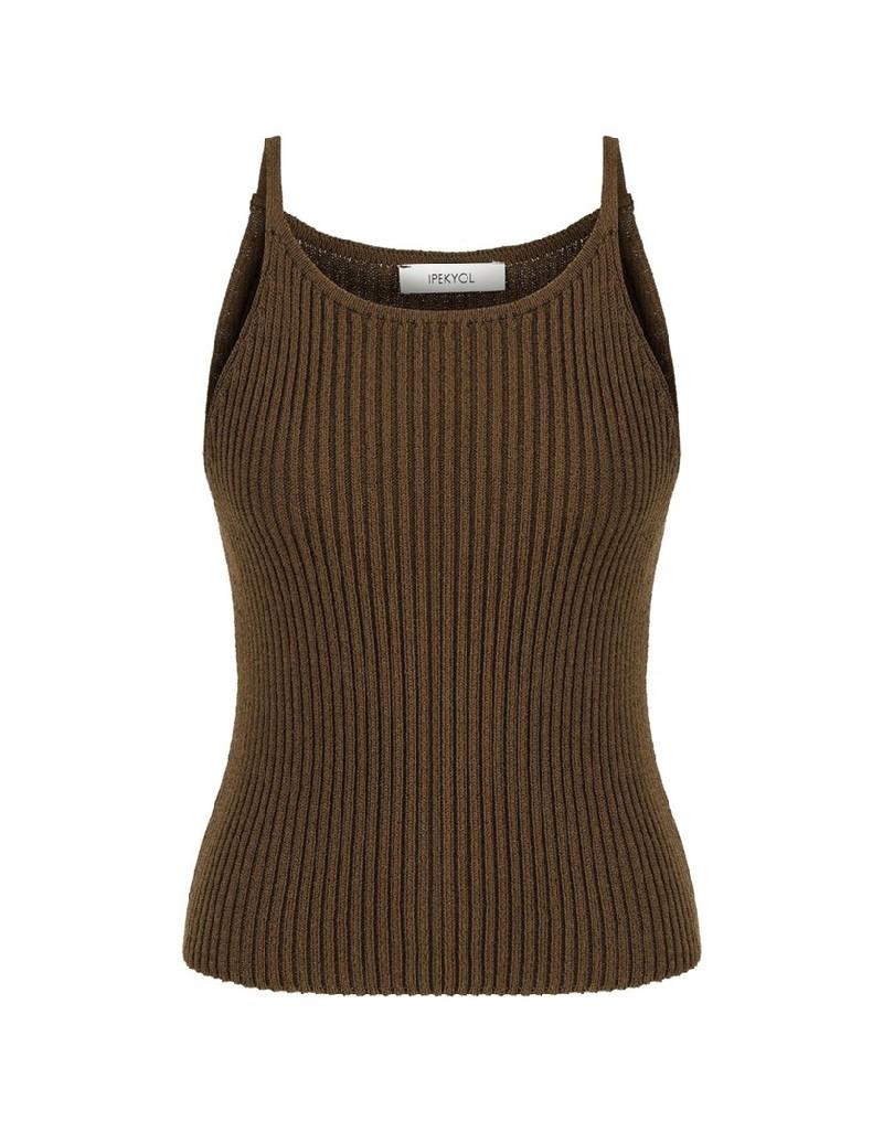 Brown Halter Neck Knitwear