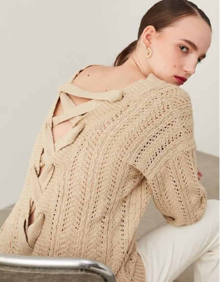 Natural Cross-Laced Knitwear