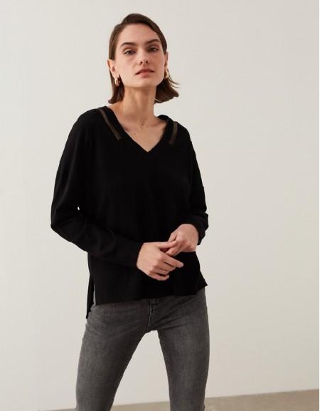 Black Transparent Detailed Knitwear