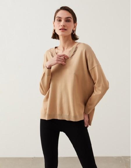 Natural Transparent Detailed Knitwear