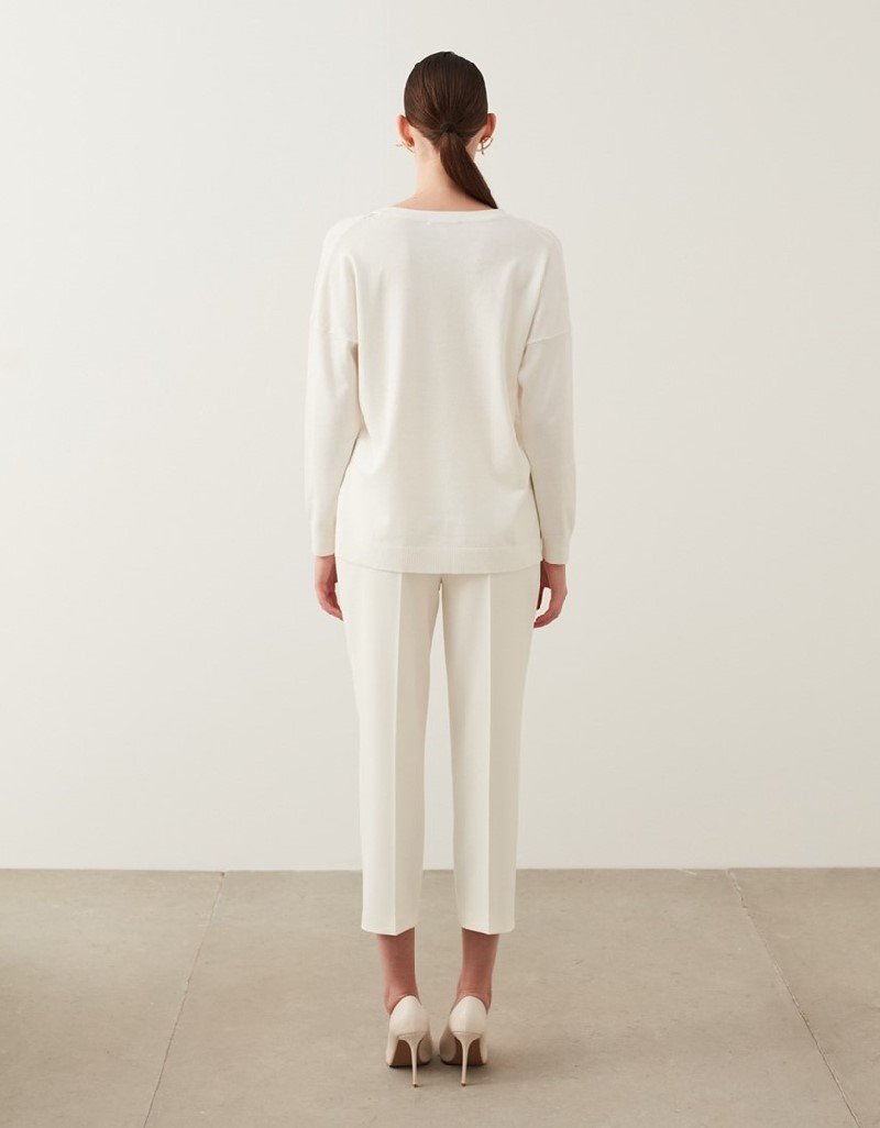 Off White Transparent Detailed Knitwear