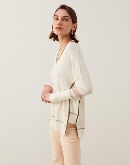 Ecru Rib Collar Knitwear