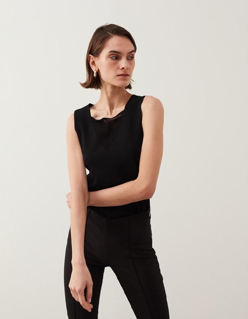 Black Square Neck Knitwear