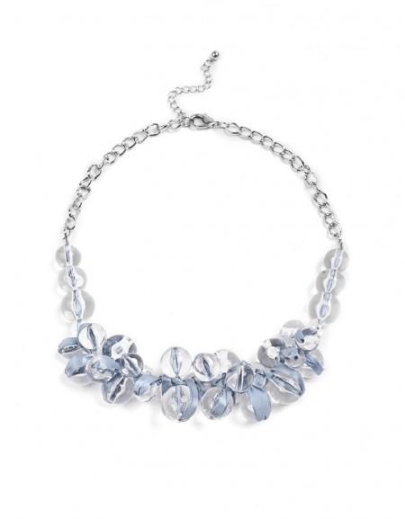 Blue Bead String Collar Necklace