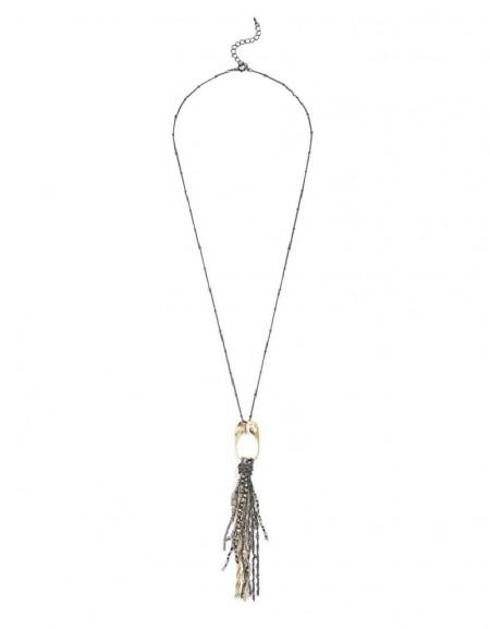 Nickel Chain Tassel Necklace
