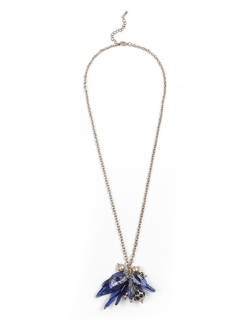 Antique Stones And Sequins Chain Necklace