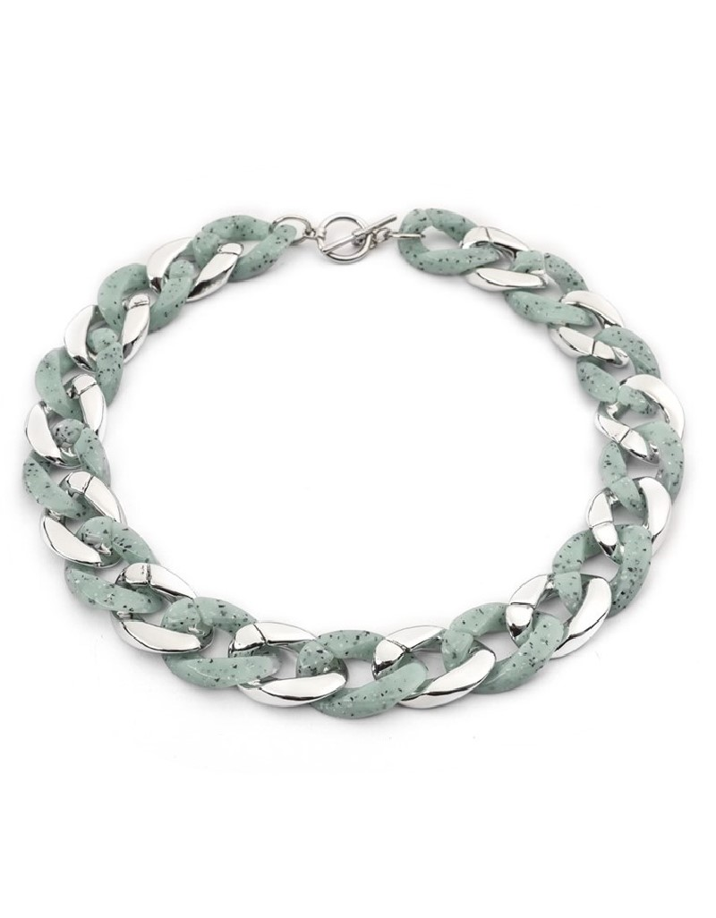 Green Ring Cross-Over Collar Necklace
