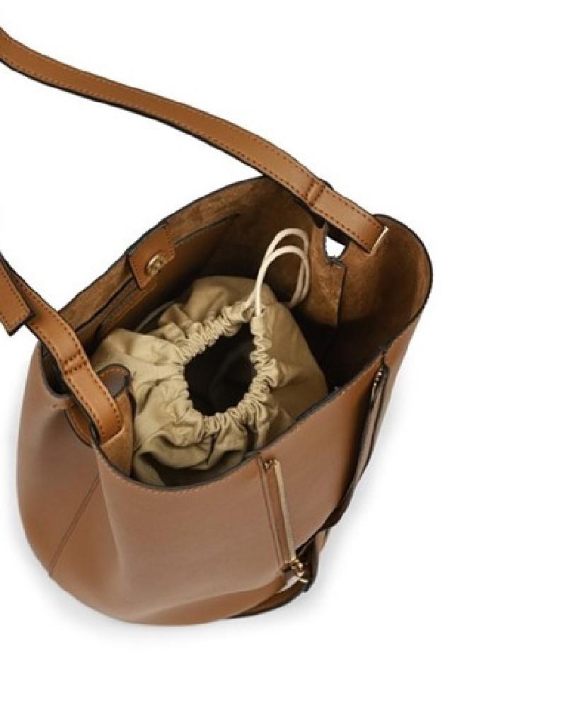 Beige Zipper Striped Sleeve Bag