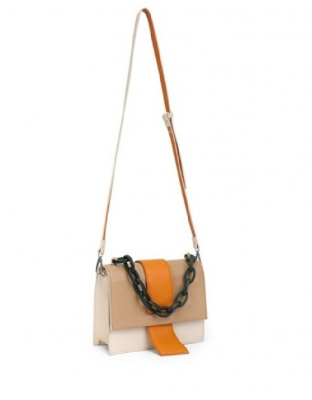 Beige Bag with chain accessories