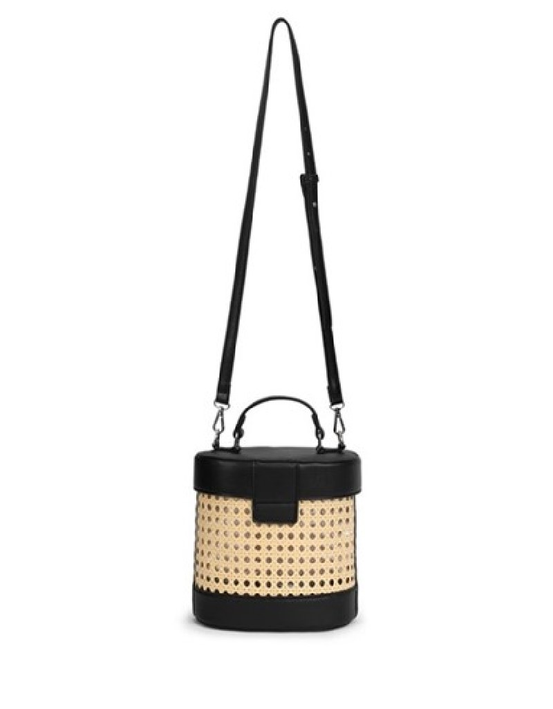 Beige Straw Knitted Mixed Sleeve Bag