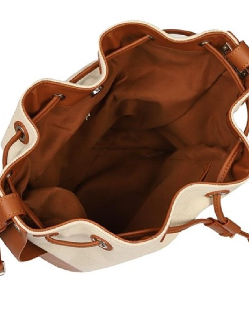 Beige Fabric Mixed Sleeve Bag