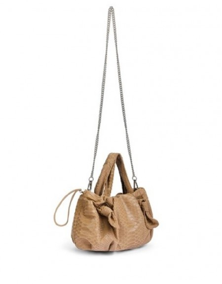 Brown Sleeve Bag With Lace Strap Detail
