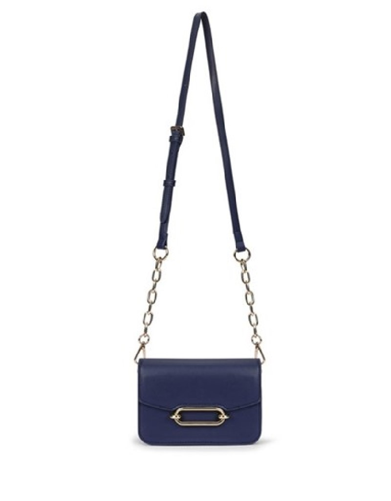 Navy Metal closing sleeve pouch