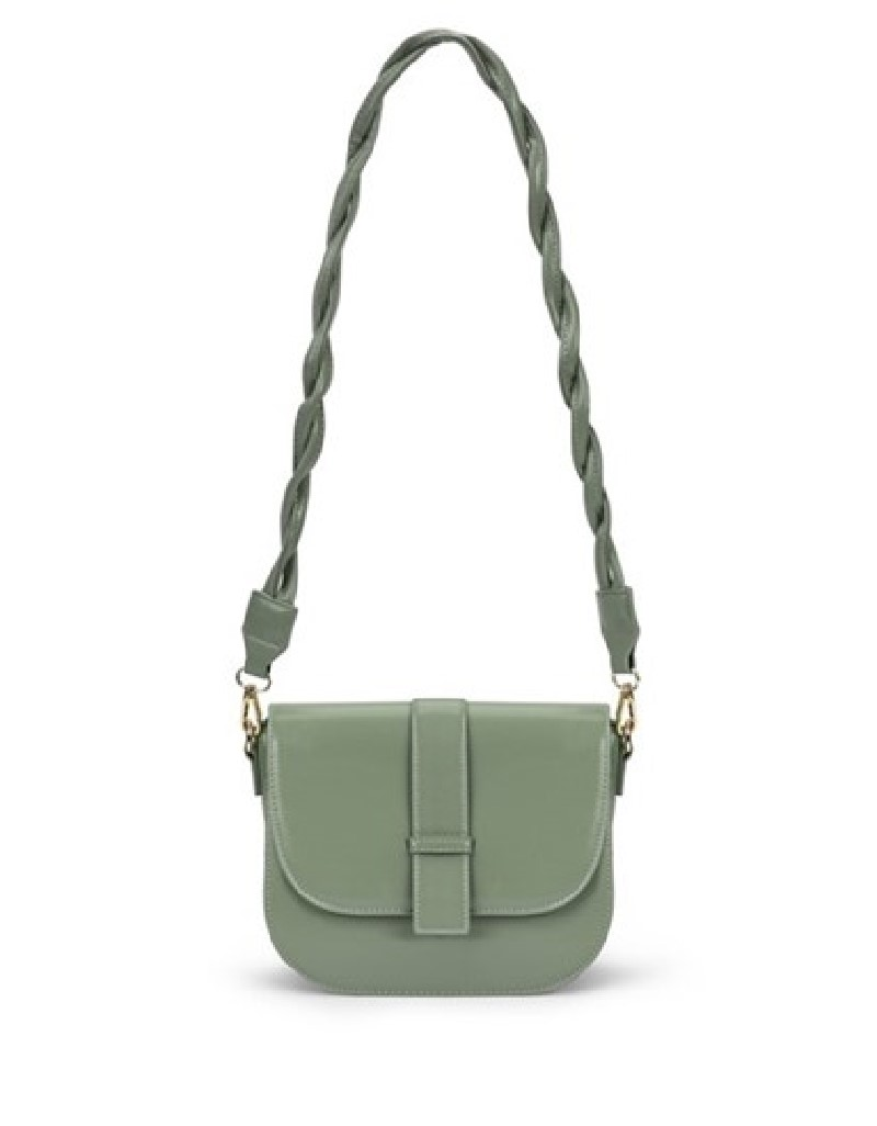 Green Sleeve Bag With Strap Detail