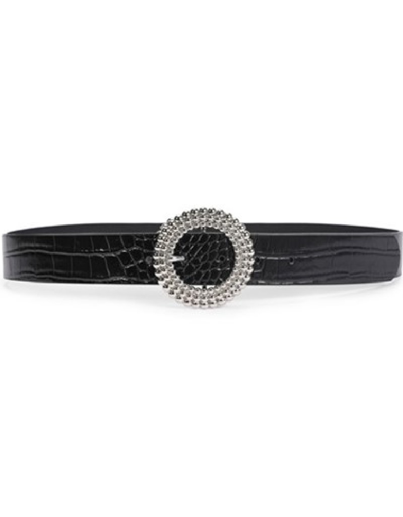 Black Croco Belt With Buckle Detail