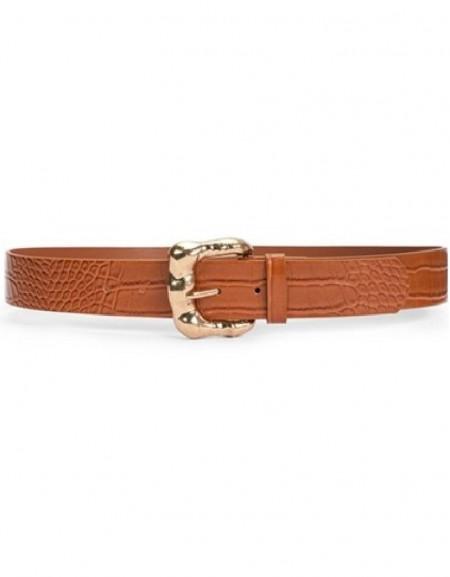 Brown Croco Belt With Buckle Detail
