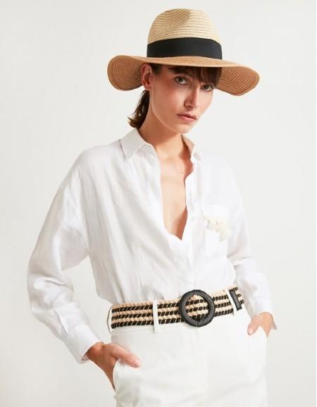 Black Line Pattern Knitted Belt