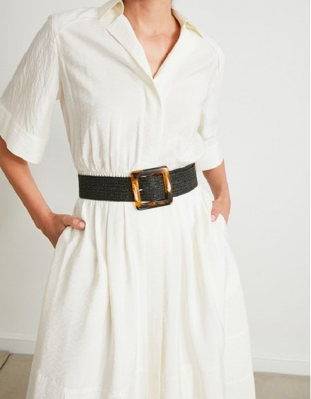 Black Knitted Belt With A Double Buckle