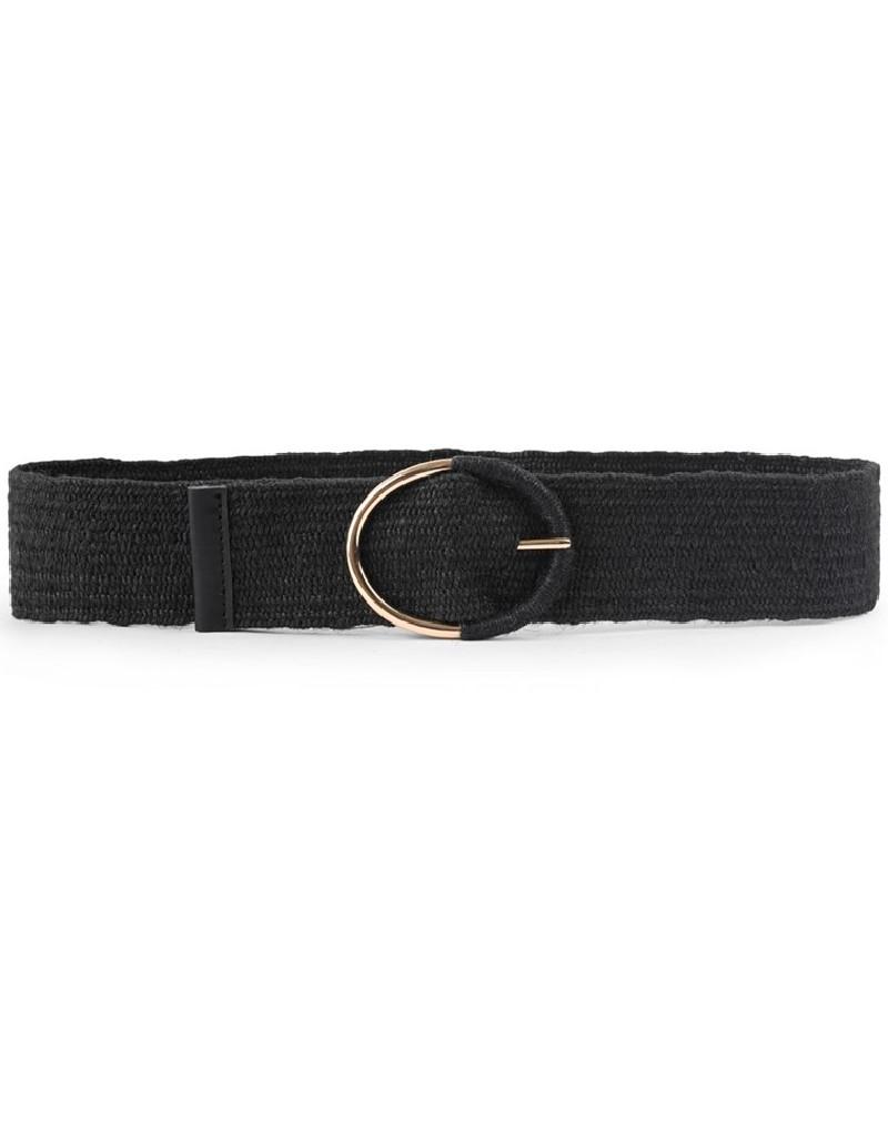 Black Buckle Detailed Knitted Belt