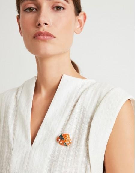Orange Sea Shell Figure Brooch