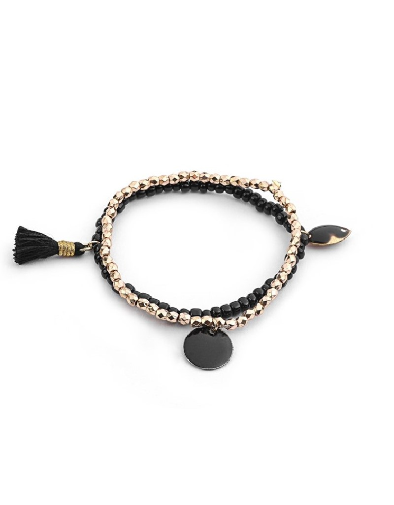 Black Bead String Double Bracelet