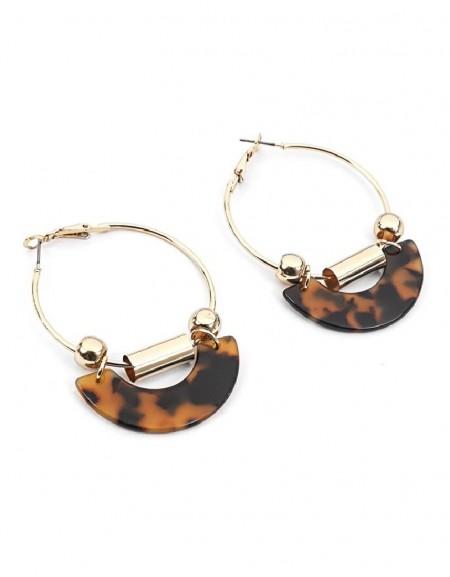 Brown Bead Cross Hoop Earrings