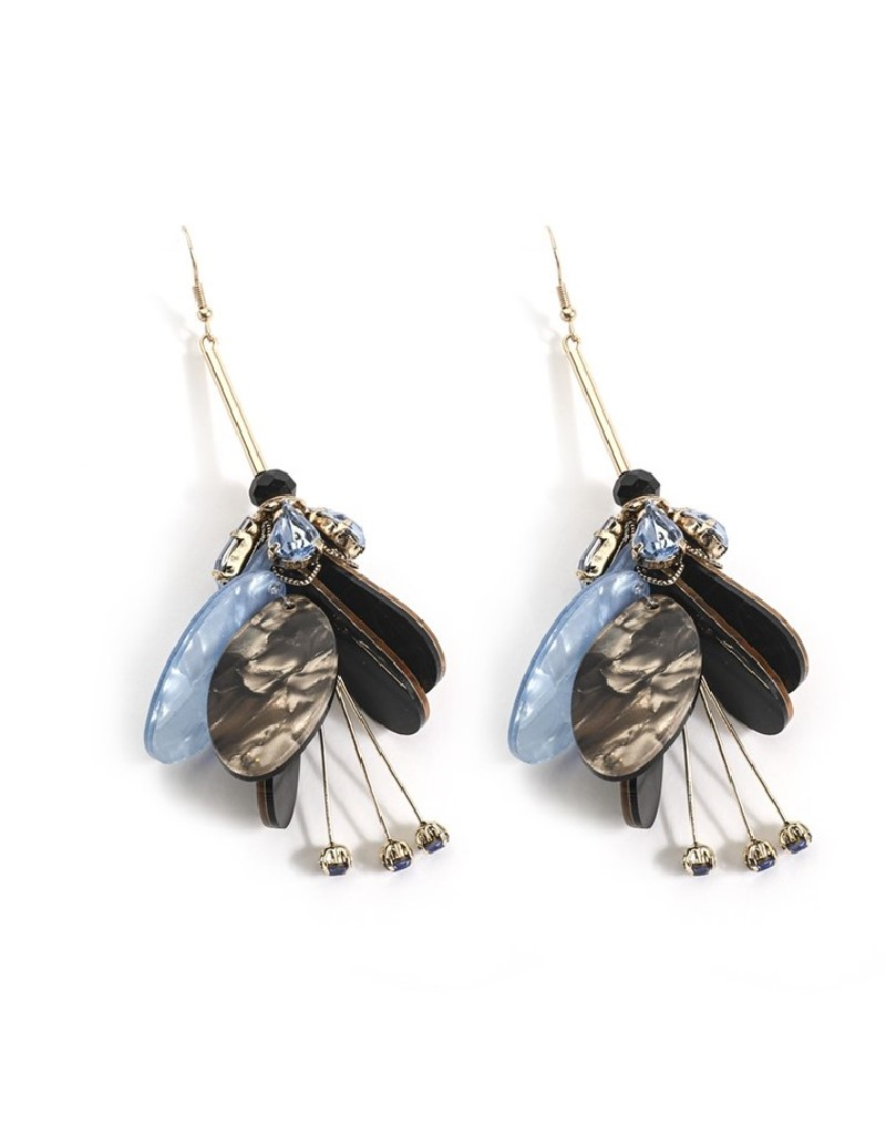Navy Stones And Sequins Dangly Earrings