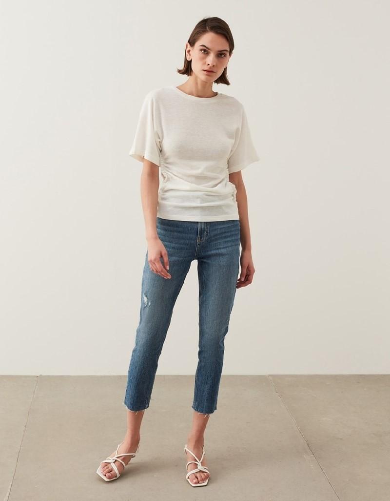 Off White Drape Detail T-Shirt