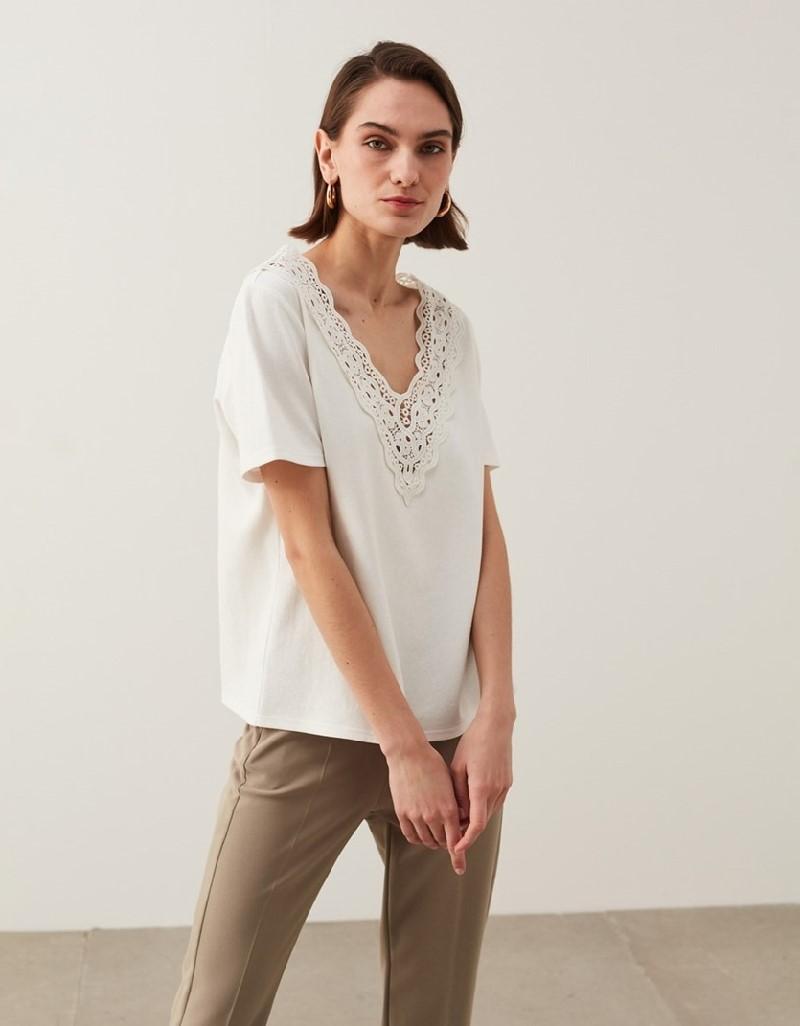Ecru Laced T-Shirt